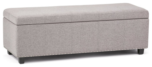 Kingsley Linen Look Storage Ottoman, Cloud Gray