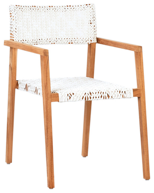 Teak And White Woven Dining Chair Contemporary Outdoor Dining