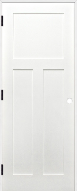 Interior Prime Pine 3-Panel Shaker Reversible Handing Pre-Hung Door Kit, 24x80.