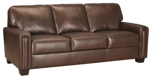 Kennedy Leather Sofa With Pocket Coils, Chocolate Transitional Sofas