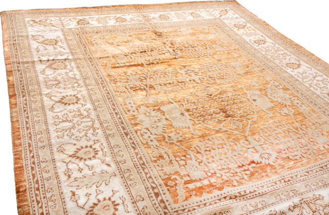 Traditional Hand Knotted Border Beige/Gold Silk Rug