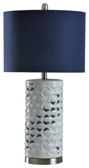 School Of Fish Cylindrical Table Lamp White Silver Sand Navy Blue