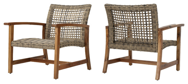 Savannah Outdoor Mid Century Acacia Wood Frame Wicker Club Chairs, Set Of 2