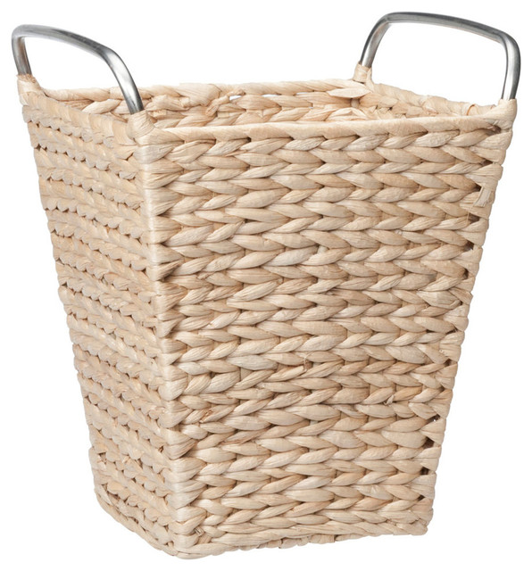 Creative bath wicker trash basket wastebaskets houzz - Wicker trash basket ...