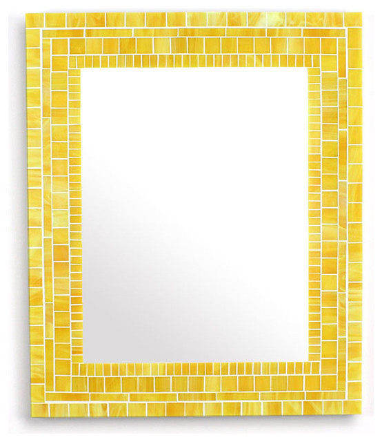 Decorative Yellow Mosaic Bathroom Wall Mirror Stained Glass Tiles