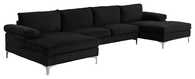 Large Velvet Fabric U-Shape Sectional Sofa - Contemporary ...