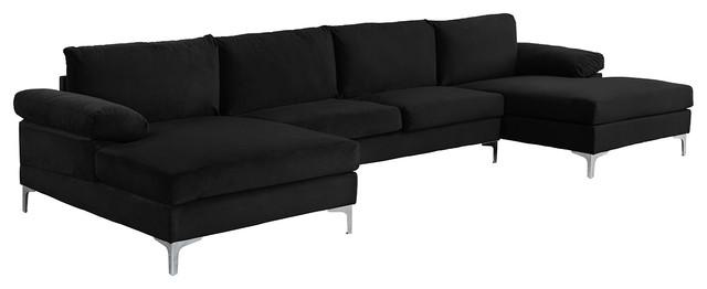 Large Velvet Fabric U-Shape Sectional Sofa, Black