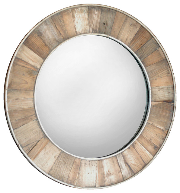 Tavern Rustic Lodge Reclaimed Pine Natural Wax Framed Round Mirror.