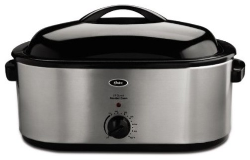 Oster CKSTRS23 SB 22 Quart Roaster Oven with Self Basting Lid Stainless Steel