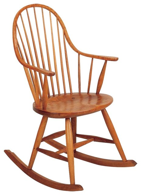 Handmade Solid Cherry Rocker In Linseed Oil, Wax & Lacquer Finish by Frederick Duckloe & Bros., Inc