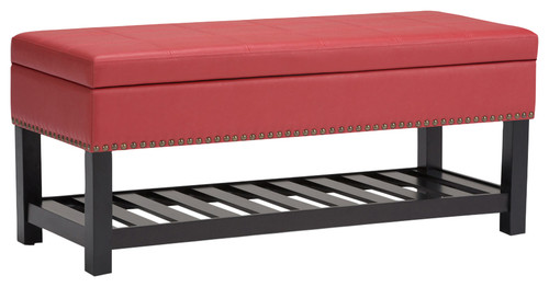 Radley 44 Transitional Ottoman Bench, Crimson Red