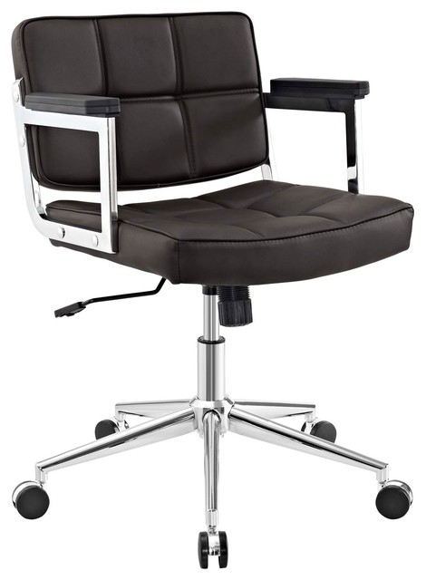 Portray Mid Back Upholstered Vinyl Office Chair, Brown.
