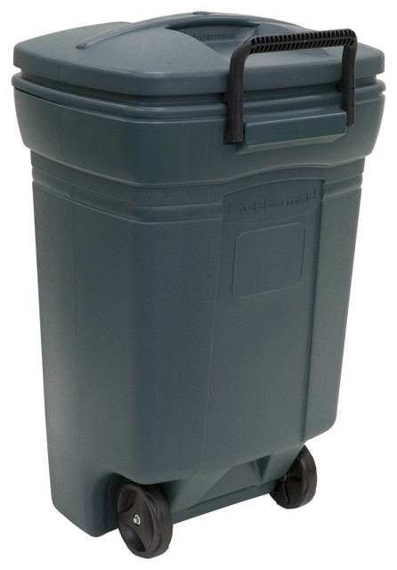 Rubbermaid Blow Molded Rectangular Wheeled Trash Can - Traditional ...