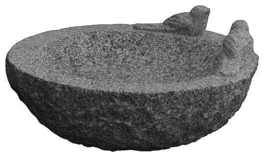 Havefigur Fuglebad M 2 Fugle Gra Granit Scandinavian Bird Baths
