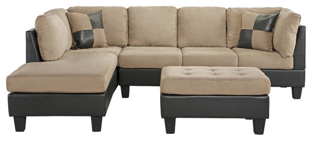 3 Piece Modern Microfiber Faux Leather, Sectional Living Room Furniture Sets