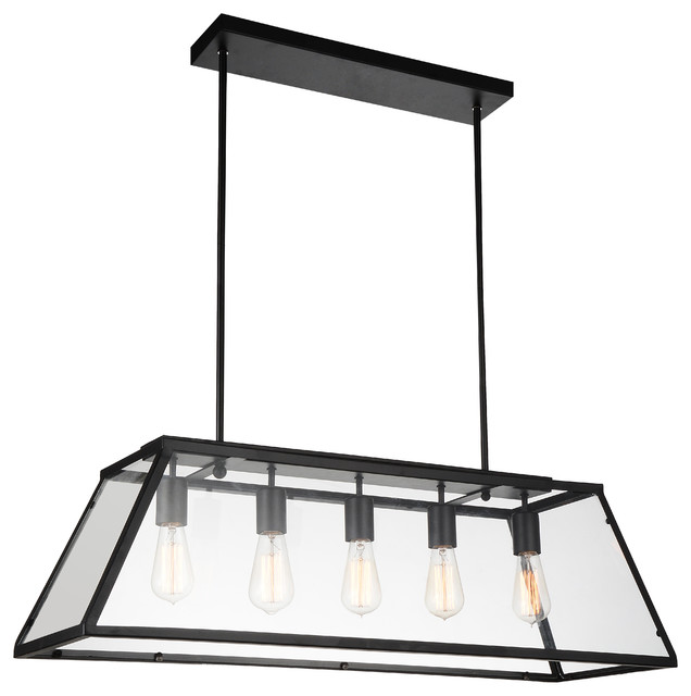 5-Light Chandelier with Black Finish