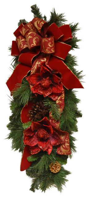 designer red magnolia christmas swag