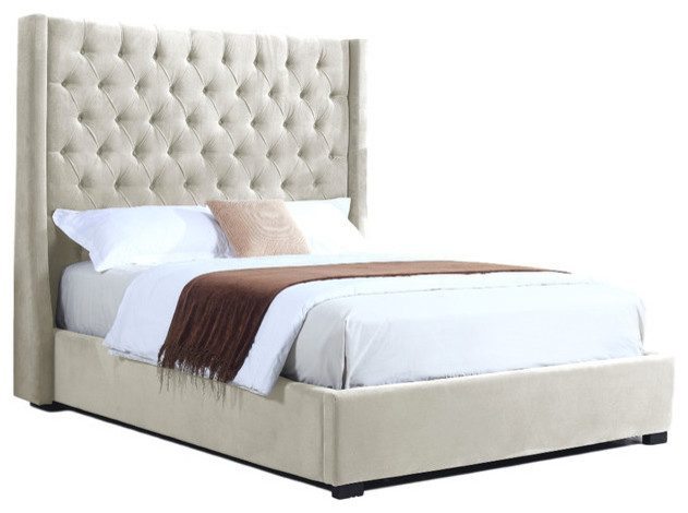High Profile Natural Upholstered Bed Velvet