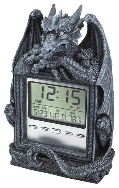 Decorative Bedroom Alarm Clocks: Dragon's Time LCD Alarm Clock