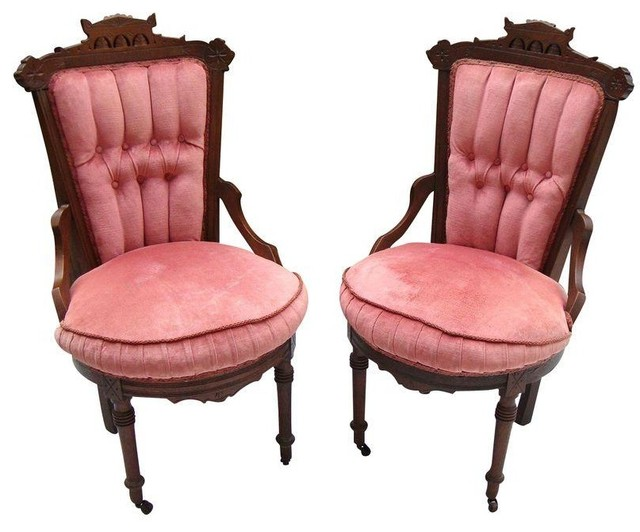 Antique Victorian Eastlake Velvet Chairs A Pair View