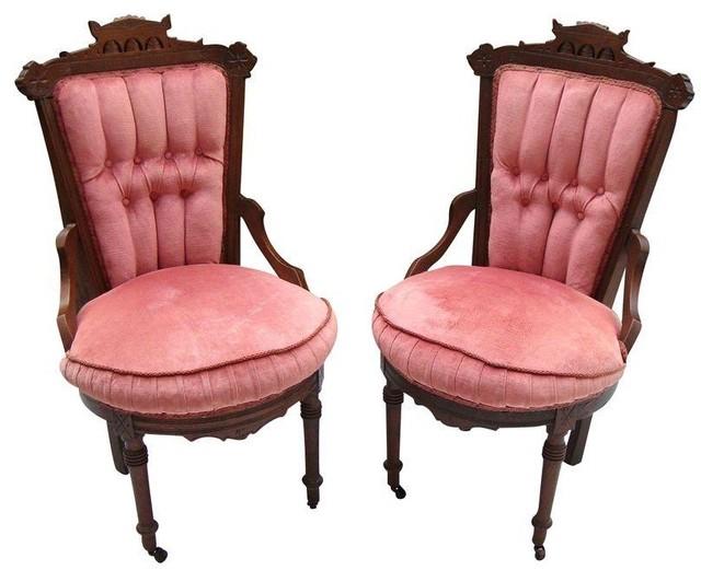 Antique Victorian Eastlake Velvet Chairs - A Pair  victorian-armchairs-and-accent- - Antique Victorian Eastlake Velvet Chairs - A Pair - Victorian