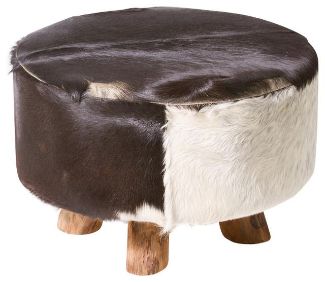 Stupendous Bare Decor Cassidy Round Leather Genuine Hide Ottoman In Black And White Spiritservingveterans Wood Chair Design Ideas Spiritservingveteransorg