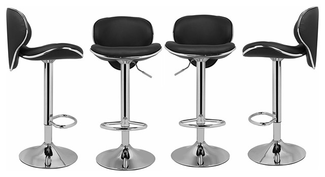 Groovy Pu Leather Adjustable Counter Bar Stools Curved Seat Set Of 4 Black Beatyapartments Chair Design Images Beatyapartmentscom