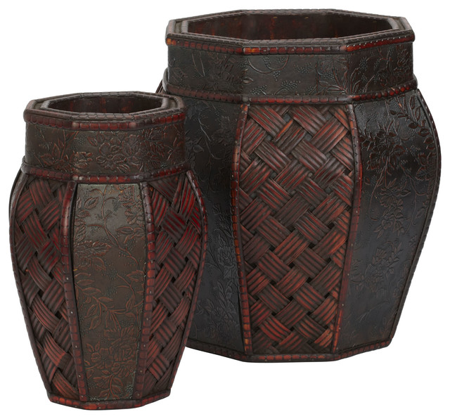 Design and Weave Panel Decorative Planters, Set of 2 - Tropical ...