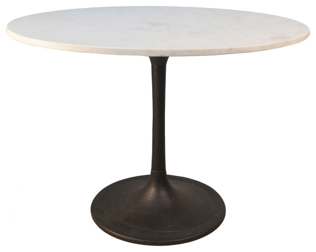 Enzo 40 Round Marble Top Dining Table Black Base