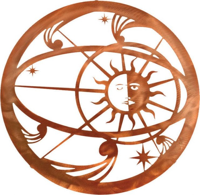 "Sun And Moon Wall Art southwest metal wall art celestial sun moon 18"" - rustic - artwork"