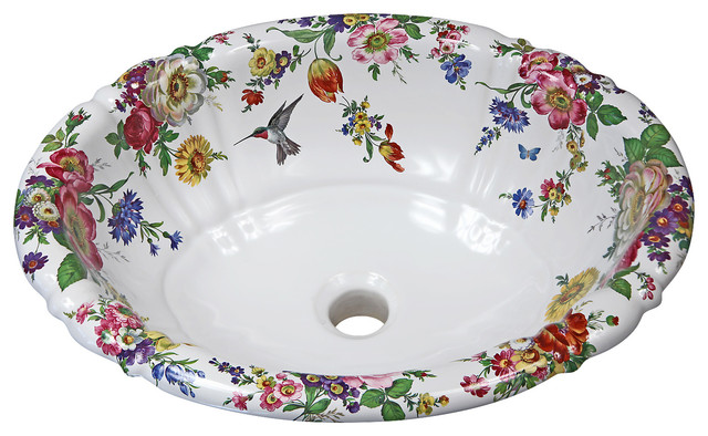 Shop Houzz Decorated Porcelain Company Scented Garden Hand Painted Sink Bathroom Sinks