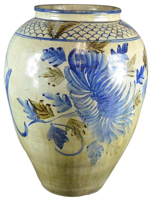 Large Asian Painted Vase Traditional Vases By De Cor