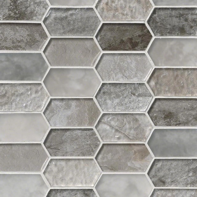 Savoy Picket Pattern Crystallized Glass Mosaic Tiles, 10 Pieces