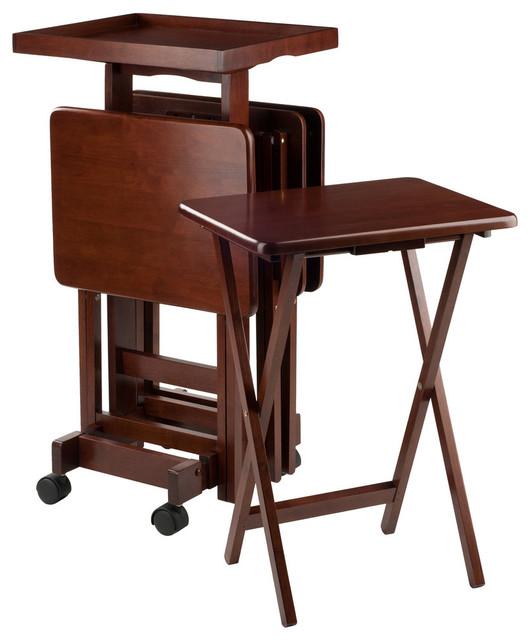 6 Piece Snack Table Set, Walnut Transitional Tv Trays