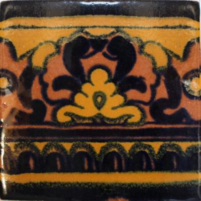 6x6 4 Pcs Black Mayan Talavera Mexican Tile.