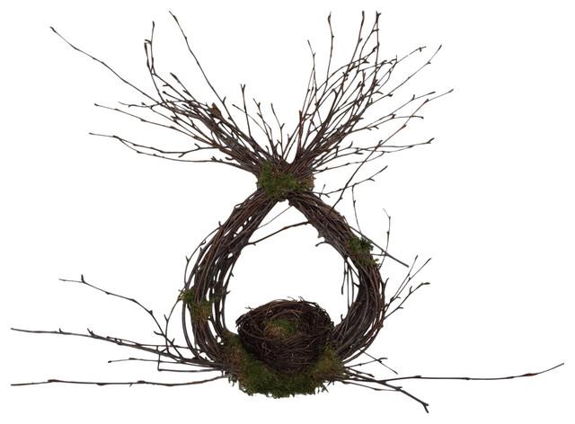 Forsythia wreath yellow - Birch Teardrop Wreath Door Hanger With Nest Rustic