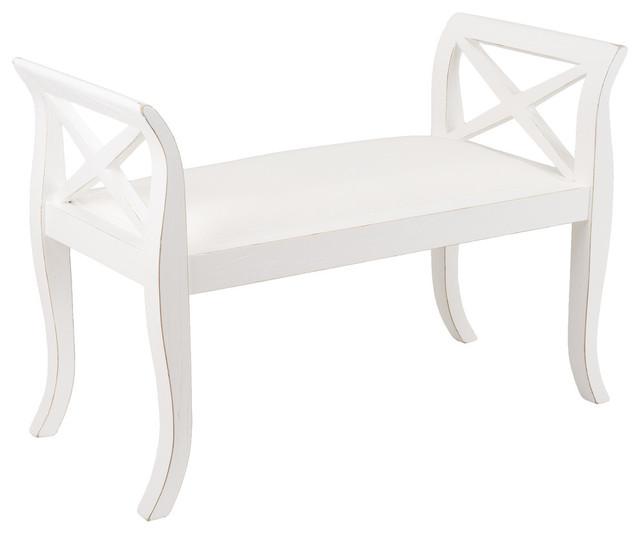 Upholstered White-Washed Oak Bench, Large.