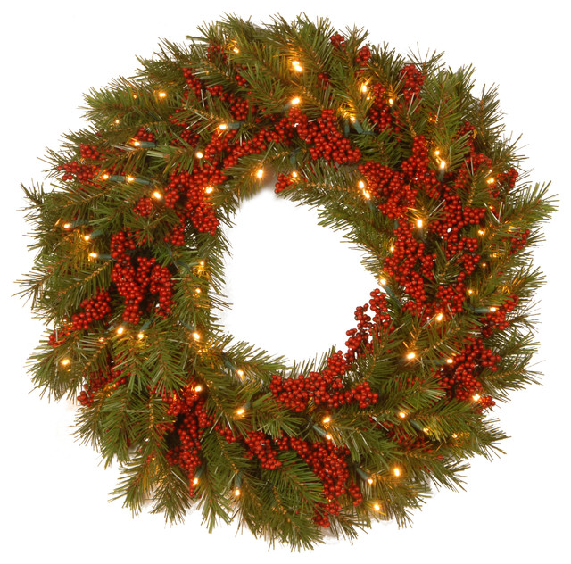 """24"""" Decorative Collection Valley Pine Wreath, Warm White Led Lights."""