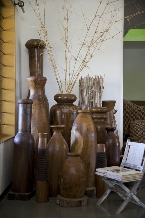 teak wood jars contemporary living room