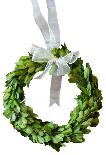 "Boxwood 8"" Wreath Round With Ribbon, 3-Piece Set."