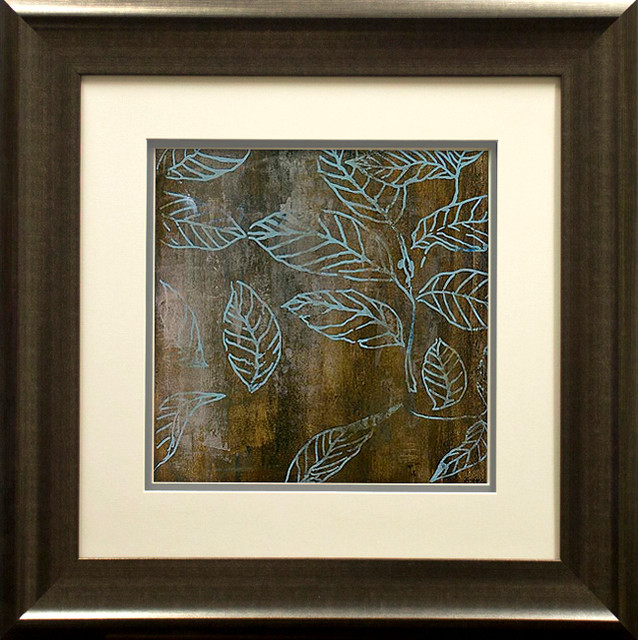 """graphic Leaves I"" Artwork By Bridges, With Double Mat Spacer, Pewter, 38""x21""."