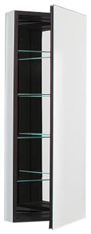 Pl Series Medicine Cabinet, Wide Door, Non-Handed, Black And Mirror, Beveled.