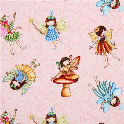 pink flower fairy fabric from the USA Fairies of the Earth