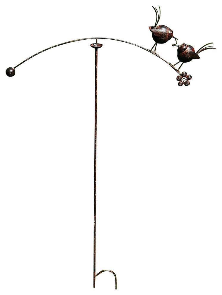 Metal Love Birds Spinning Balancer Stake, Garden Wind Spinner Ornament