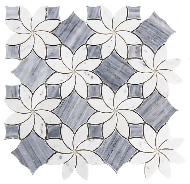 115x115 Marble Mosaic Tile Waterjet Design Blossom