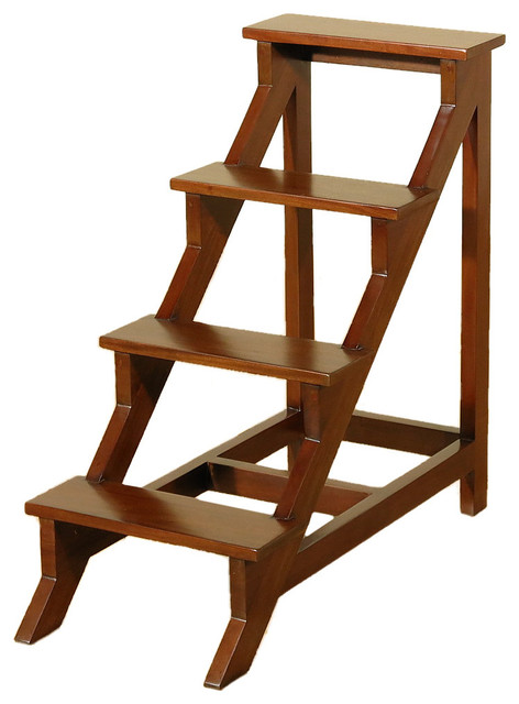 Solid Mahogany 4 Step Office Library Step Stool Ladder
