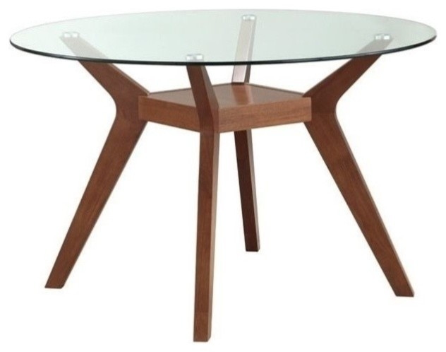 round glass top table 24 inch houzz coaster paxton round glass top dining table nutmeg midcentury