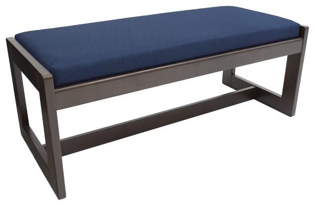 Belcino Double Seat Bench, Mocha Walnut/blue.