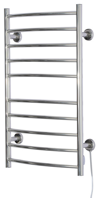 10 Bar Curved Stainless Steel Wall Mounted Heated Towel Warmer Rack