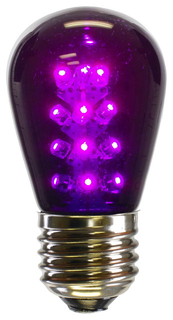 S14 Led Transparent Bulb E26 Neck Base, Purple.